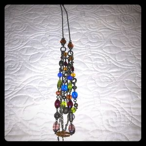 Beautiful multicolored long beaded necklace!
